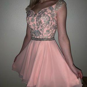 Pink off the shoulder formal dress